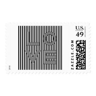 Black and White Love Typography Postage