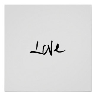 """Black and White """"Love"""" Typography Poster"""