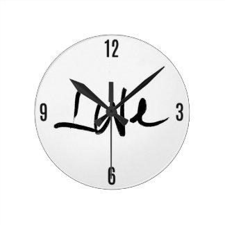 "Black and White ""Love"" Typography Round Clock"