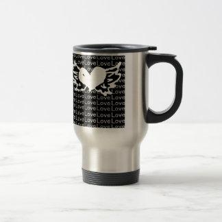 Black and White Love Winged Heart Travel Mug