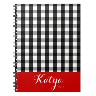 Black and White Lumberjack Plaid DIY Personalized Notebook