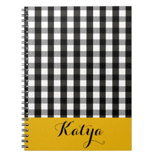 Black and White Lumberjack Plaid DIY Personalized Spiral Notebook