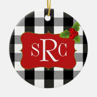 Black and White Lumberjack Plaid Holly Monogram Double-Sided Ceramic Round Christmas Ornament