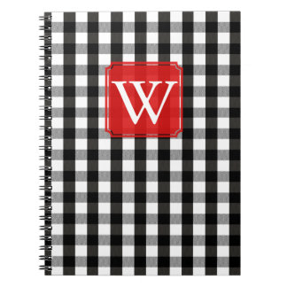 Black and White Lumberjack Plaid Monogram Notebook