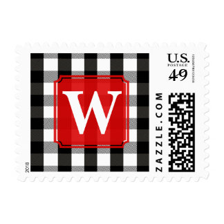 Black and White Lumberjack Plaid Monogram Postage Stamps