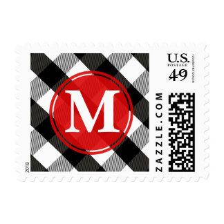 Black and White Lumberjack Plaid Monogram Stamp