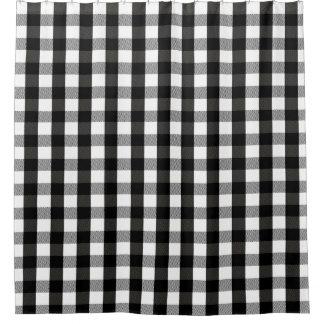 Black and White Lumberjack Plaid Shower Curtain