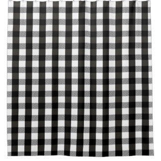 black and white lumberjack plaid shower curtain