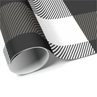 Black and White Lumberjack Plaid Wrapping Paper