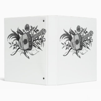 Black and white lute and plants graphic binder
