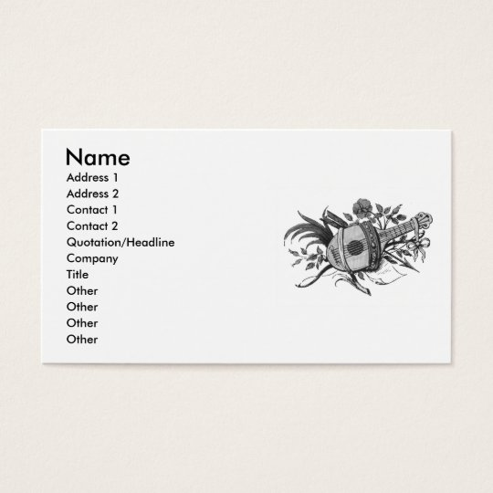 Black and white lute and plants graphic business card