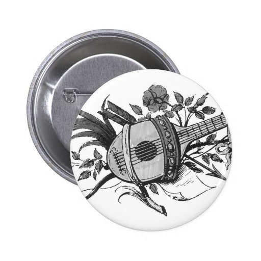 Black and white lute and plants graphic pinback button