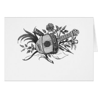Black and white lute and plants graphic card