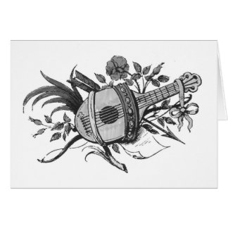 Black and white lute and plants graphic greeting cards