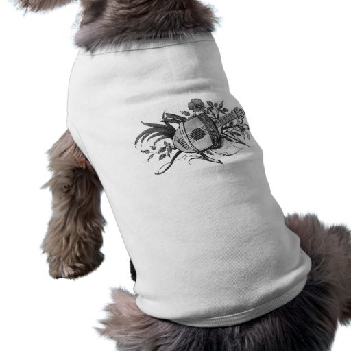 Black and white lute and plants graphic pet clothing