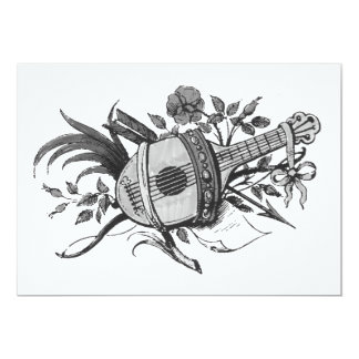 Black and white lute and plants graphic custom invitations