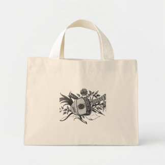 Black and white lute and plants graphic mini tote bag