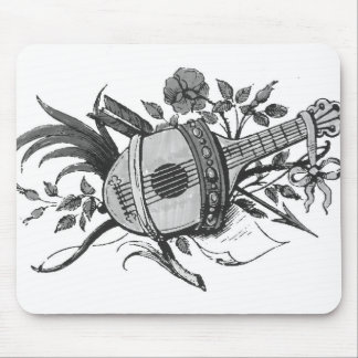 Black and white lute and plants graphic mousepad