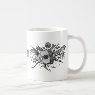 Black and white lute and plants graphic classic white coffee mug