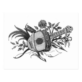 Black and white lute and plants graphic postcard