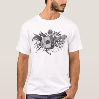 Black and white lute and plants graphic T-Shirt
