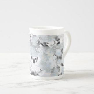 Black and white luxurious abstract modern art tea cup