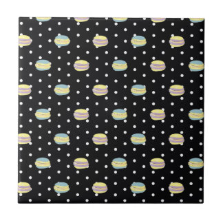 Black and White Macaron polkadot Ceramic Tile