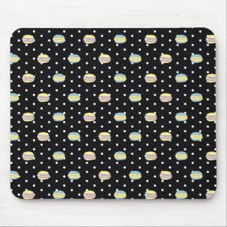 Black and White Macaron polkadot Mouse Pad