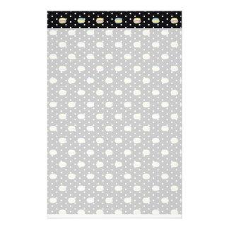 Black and White Macaron polkadot Customized Stationery