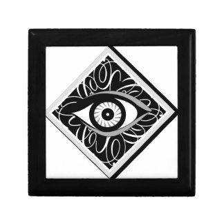 Black and white Magic eye in a square Keepsake Box