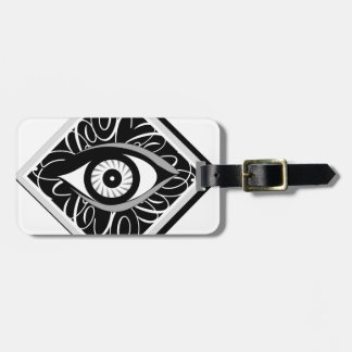 Black and white Magic eye in a square Tags For Bags