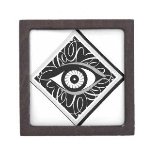 Black and white Magic eye in a square Premium Keepsake Box