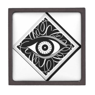Black and white Magic eye in a square Premium Keepsake Boxes