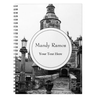 Black and White Magical Castle Photograph Spiral Notebook