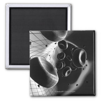 Black and white magnification of blood cells magnet