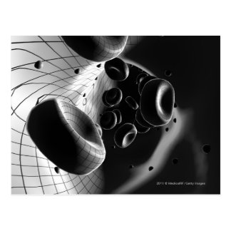 Black and white magnification of blood cells postcard