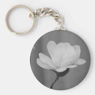 Black and White Magnolia Centennial Bloom Keychain
