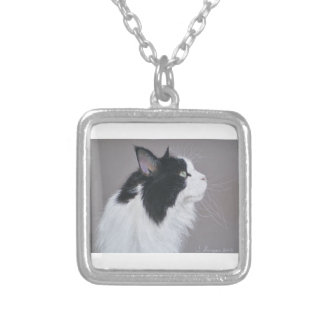 Black and White Maine Coon cat Square Pendant Necklace