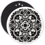 Black and white mandala 6 inch round button