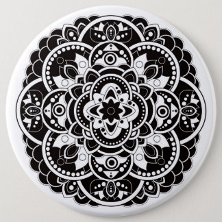 Black and white mandala button
