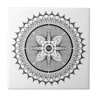 Black and white mandala ceramic tile