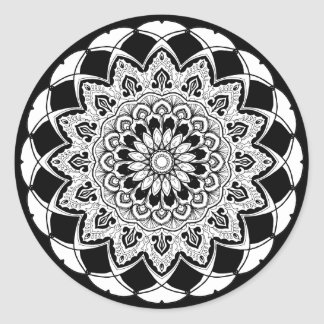 Black and White Mandala Classic Round Sticker