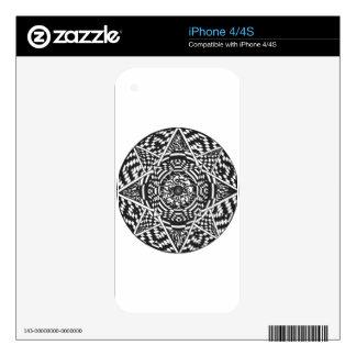 Black and white mandala design iPhone 4 skin