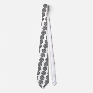 Black and white mandala design neck tie