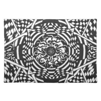 Black and white mandala design placemat