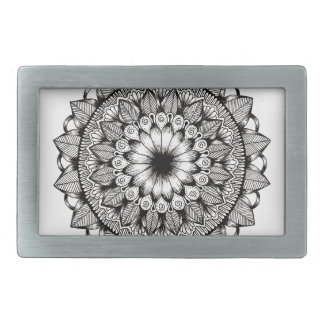 Black and White Mandala Item Belt Buckle