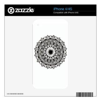 Black and White Mandala Item Skin For iPhone 4S