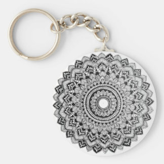 Black and White Mandala Keychain