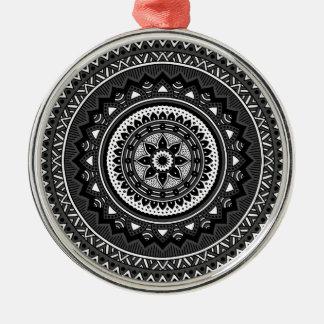 Black and white mandala metal ornament