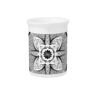 Black and white mandala pitcher